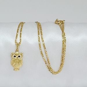 Beautiful baby owl necklace. 18K GF chain. New